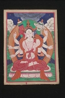 Sitatapatra (Buddhist Deity): (Three faces, eight hands)